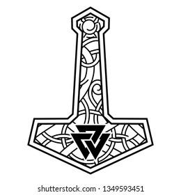 Thors hammer - Mjolnir and the Scandinavian ornament, isolated on white, vector illustration