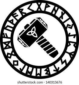 Thors Hammer - Runes - Triquetra - Flash / Vector Illustration