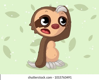 Thoughtful comic sloth in the jungle