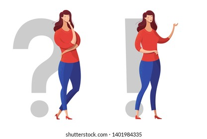 Thoughtful girls flat vector characters set. Question and answer, problem and solution metaphorical illustration. Young ladies, women making decision. Female person offering options, way-out