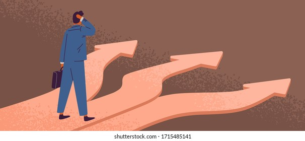 Thoughtful man standing at crossroads. Way choice concept. Start of career. Confused businessman thinking about the right path. Pathway selection dilemma. Vector illustration in flat cartoon style