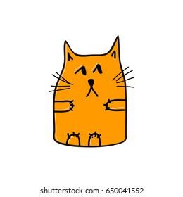 Thoughtful orange cat. Vector illustration.