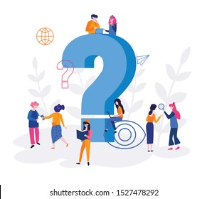 Thoughtful people, FAQ, pensive business man and woman surrounded by thought bubbles.  question mark, Vector illustration for web, mobile website. A pack of smart men and women  think,  solve problem.