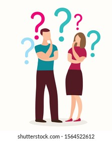 Thoughtful people, man and woman thinking, question mark.Thinking, contemplating, asking himself.Vector illustration