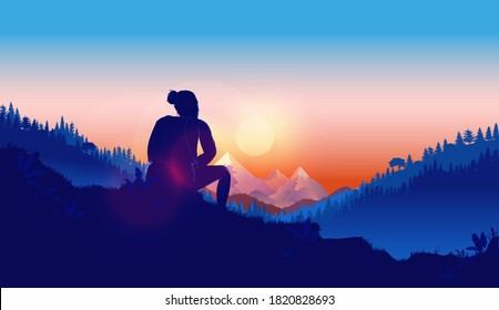Thoughtful woman - Female person sitting outdoors thinking, reflecting and contemplating about her life and future. Solitude, melancholy and lost in thoughts concept. Vector illustration.