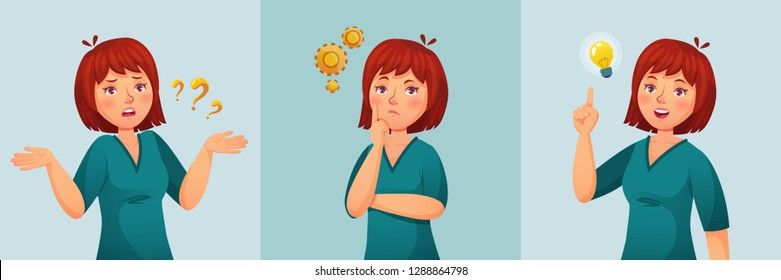 Thoughtful woman. Thinking female ask questions, confused thought or doubt and found question answer. Disappointed contemplating expression face, woman have an idea cartoon vector illustration