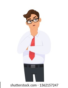 Thoughtful young business man is thinking with crossed arm, holding hand on chin and musing while looking up. Human emotion, facial expression, feeling concept illustration in vector cartoon style.