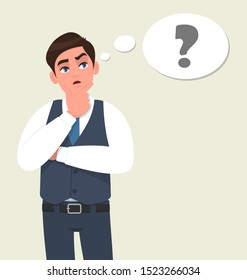 Thoughtful young businessman in waistcoat thinking with crossed arm. Person looking up to thought bubble with question mark. Male character design illustration. Human emotions in vector cartoon style.