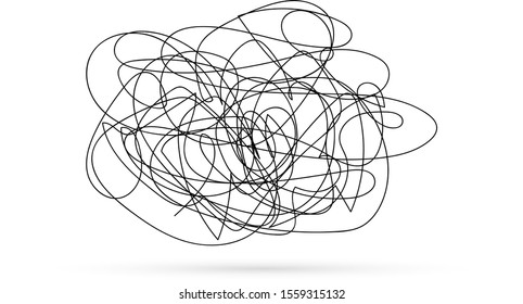thoughts get confused, chaos in the head, abstract state of depression, kids hand drawing line art, doodle vector illustration
