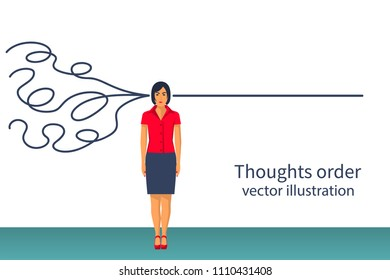 Thoughts order. Decoding understanding. Vector illustration flat design. Isolated on white background. Confused lines in head. Business creative people.