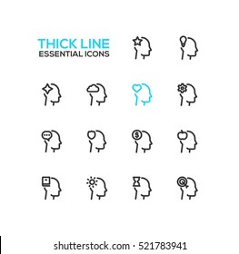 Thoughts Signs in Heads - modern vector simple thick line design icons and pictograms set. Head with star, bulb, cloud, heart, cog, speech bubble, shield, dollar, apple, book, sun, hourglass, target