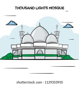 Thousand lights mosque, Chennai Illustration