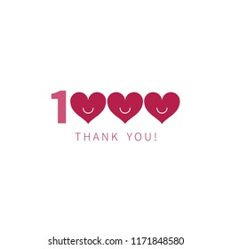 thousand thank you, 1k followers, likes, vector inscription