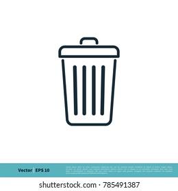 Thrash Can Icon Vector Logo Template