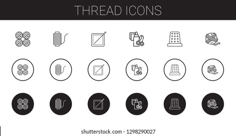 thread icons set. Collection of thread with wool balls, sewing, handcraft, thimble, yarn ball. Editable and scalable thread icons.