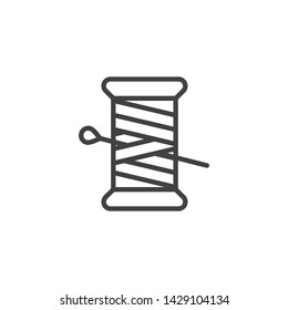 Thread and Needle line icon. linear style sign for mobile concept and web design. Sewing needle and thread spool outline vector icon. Symbol, logo illustration. Vector graphics