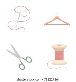 Thread, reel, hanger, needle, scissors.Atelier set collection icons in cartoon style vector symbol stock illustration web.