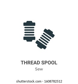 Thread spool glyph icon vector on white background. Flat vector thread spool icon symbol sign from modern sew collection for mobile concept and web apps design.