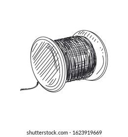 Thread spool hand drawn vector monochrome illustration. Needlework and dressmaking item vintage sketch. Fishing line retro drawing. Needlecraft tool isolated design element on white background