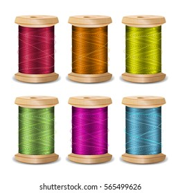 Thread Spool Set. Bright Old Wooden Thread Spool Bobbin. Isolated On White Background For Needlework And Needlecraft. Stock Vector Illustration