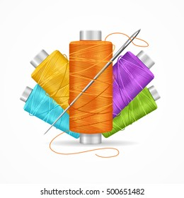 Thread Spool Set. Colorful Plastic Bobbin. Vector illustration of yarn or Cotton Reel on white background closeup isolated