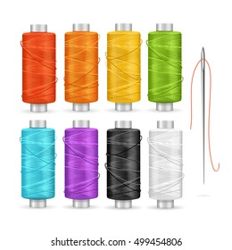 Thread Spool Set. Equipment for Dressmakers. Vector illustration of yarn or Cotton Bobbin Reel on white background closeup isolated