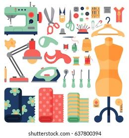 Thread supplies hobby accessories sewing equipment tailoring fashion pin craft needlework vector illustration.