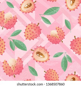 Threadbare exotic seamless pattern with lychee and leaves, whole and sliced. Hand drawn vector illustration on  pink geometric background. Template for print, textile, wallpaper, food design