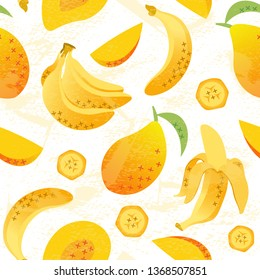 Threadbare exotic seamless pattern with mango fruits and banana, whole and sliced. Hand drawn vector tropical illustration on white background. Template for print, textile, wallpaper, cover