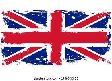Threadbare flag of Great Britain, UK grunge symbol vector