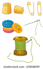 Threads, needles, thimbles, pins, buttons vector