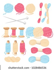 Threads for sewing for cross stitching set tools for sewing knitting needles vector wool knitwear yarn thread knitting weaving wool vector cartoon illustration multi-coloured.