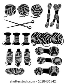 Threads for sewing for cross stitching set tools for sewing knitting needles vector wool knitwear yarn thread knitting weaving wool vector cartoon illustration black silhouette.