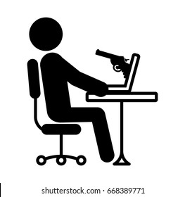 Threat from computer internet hackers web robbery A gun aimed at you The newest ultra-dangerous Petya malware Wannacry virus . Cybercrime and cyber security icon. Vector logo isolated on white
