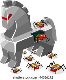 Threat of Trojan Virus. Detailed vector Illustration.