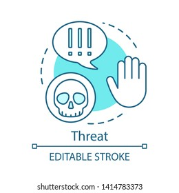 Threat turquoise concept icon. Virus, danger, warning hand idea thin line illustration. Exclamation mark sign, cyber attack, hacker. Data thief vector isolated outline drawing. Editable stroke