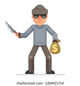 Threaten knife stole money evil greedily thief cartoon rogue character bulgar flat design isolated vector illustration