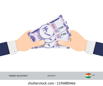 Three 100 Indian Rupee Banknotes in the hand. Flat style vector illustration. Finance concept.