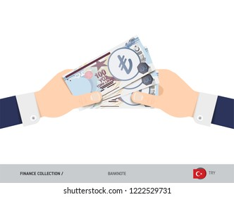 Three 100 Turkish Lira Banknotes in the hand. Flat style vector illustration. Finance concept.
