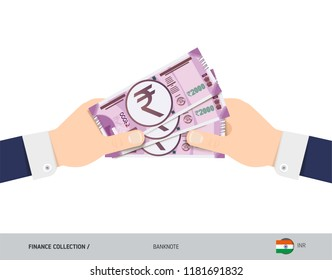 Three 2000 Indian Rupee Banknotes in the hand. Flat style vector illustration. Finance concept.