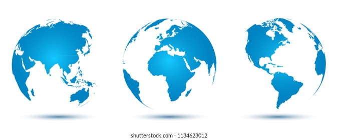 Three 3D Globes with World Maps - vector