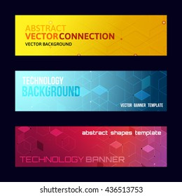 Three abstract banners collection. Modern vector digital background. Abstract geometric design. Flayer, brochure, poster template with text. Color glowing lines.