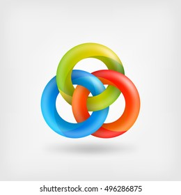 three abstract interlocking rings. vector illustration - eps 10