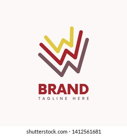 Three abstract letter W logo template