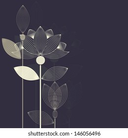 three abstract lotus flower on the dark purple background vector