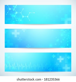 three abstract medical technology banner vector background for web or print. layered.