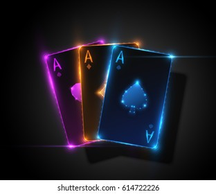 Three ace card, poker casino illustration. Vector graphic