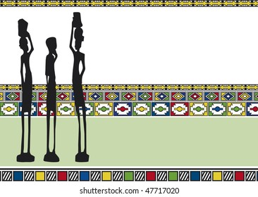 Three African Figures On an African Background