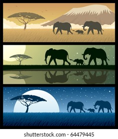 Three African landscapes with elephants.