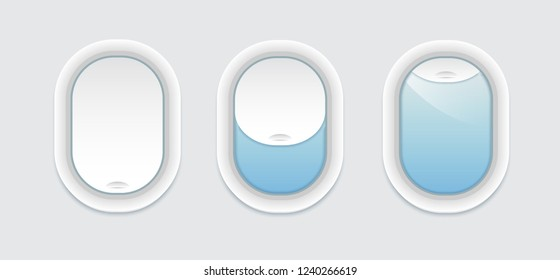 Three airplane windows inside view.  Vector porthole with transparent glass. Aircraft open and closed window template isolated.